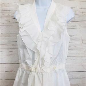 Trina Turk M White Sleeveless Ruffle Neck Blouse